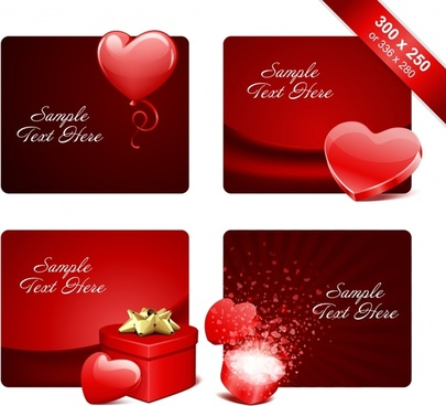 valentines banner templates luxury red heart giftbox decor