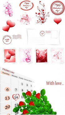 romantic valentine day element vector
