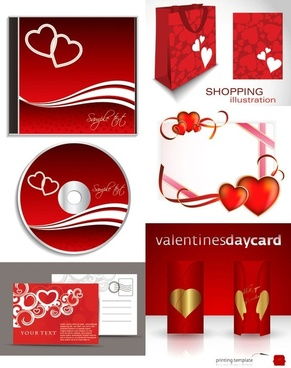 romantic valentine day elements 02 vector