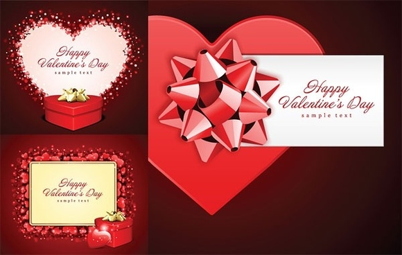 romantic valentine day gift card vector