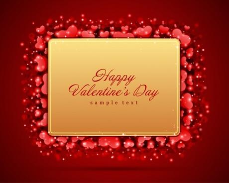 valentines banner template luxury red golden hearts decor