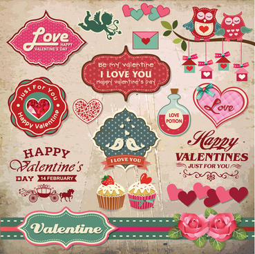 romantic valentine retro labels and decor vector