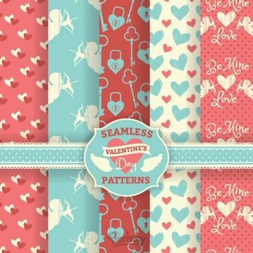 romantic valentines day seamless pattern set