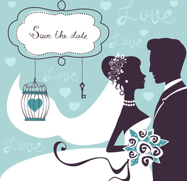 romantic wedding background with love vector