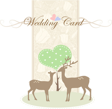 romantic wedding card with deer vector
