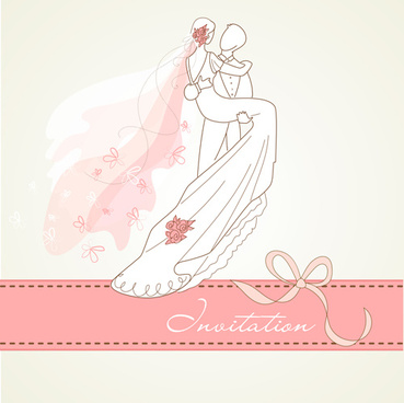 romantic wedding elements backgrounds vector
