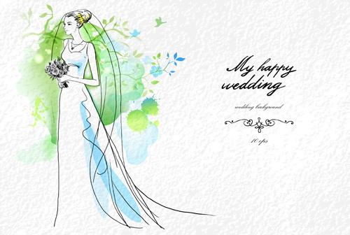 romantic wedding elements backgrounds vector