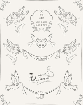 romantic wedding invitation cards hand drawn vector