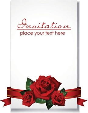 wedding card cover template elegant roses ribbon decor