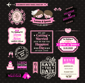 romantic wedding labels vector