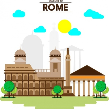 rome promotion banner famous buildings on vignette background