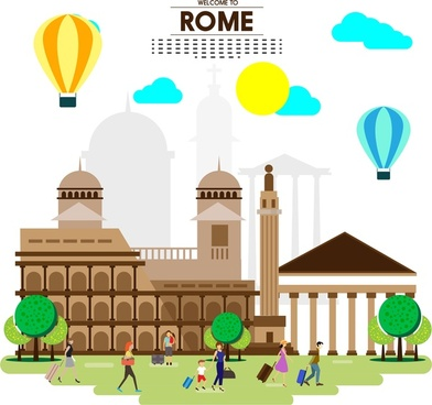 rome tourism banner with buildings tourists and balloons