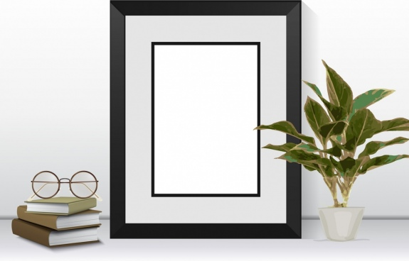 room corner decor background frame trees books icons