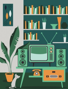 room decor background colored retro objects design