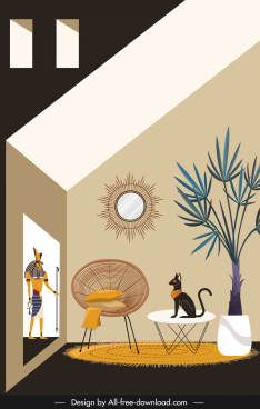 room decor template egyptian style classic design