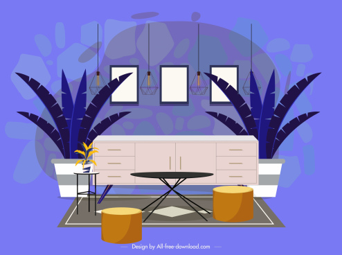 room decor template furniture sketch colored modern design