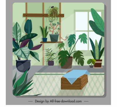 room decor template houseplant sketch classic design