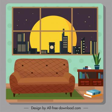 room decor template sofa bookshelf window sketch