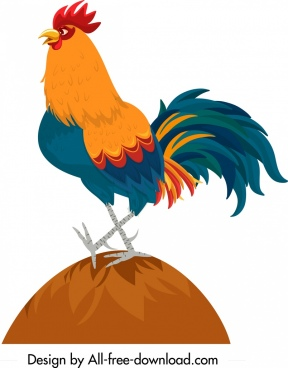 rooster icon colored cartoon character