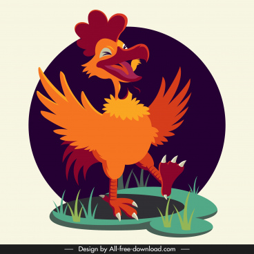rooster icon funny cartoon character sketch