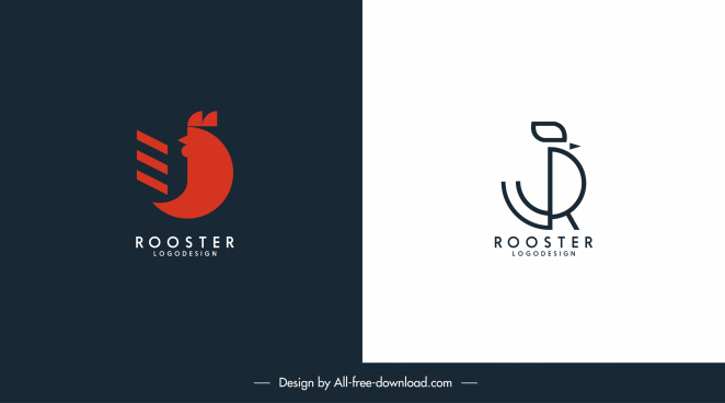 rooster logo template flat handdrawn design