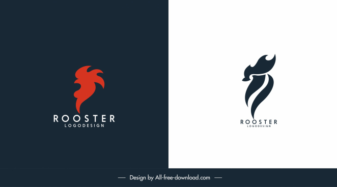 rooster logo templates dark bright flat abstract sketch