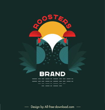 rooster logotype colorful dark flat symmetric abstract design