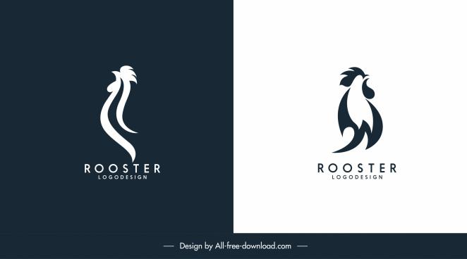 rooster logotypes flat handdrawn swirled sketch