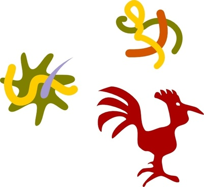 Rooster Star Worms clip art