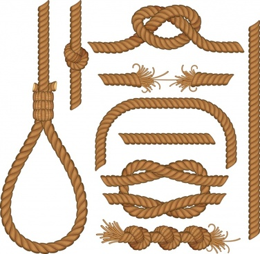 rope icons brown decor various shapes sketch