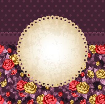 rose and frame vintage background vector