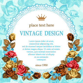 rose and frame vintage background vector