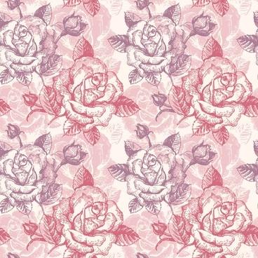 roses pattern template retro handdrawn sketch
