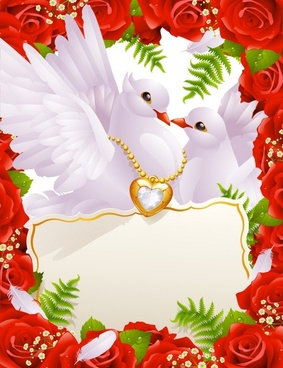 wedding background pigeon couple roses heart icons decor