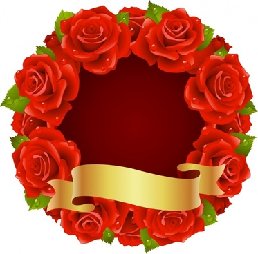 decorative banner rose wreath border 3d ribbon decor