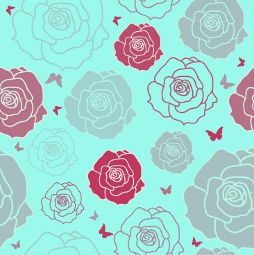 rose butterflies background repeating sketch