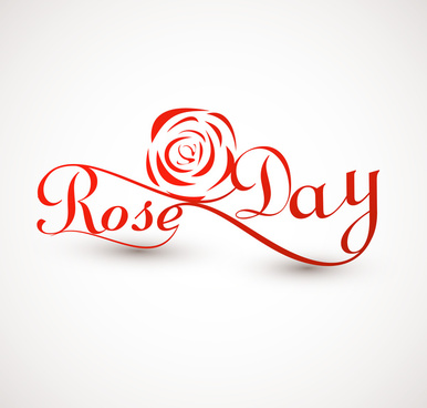 rose day for valentine week colorful typography text vector illustration