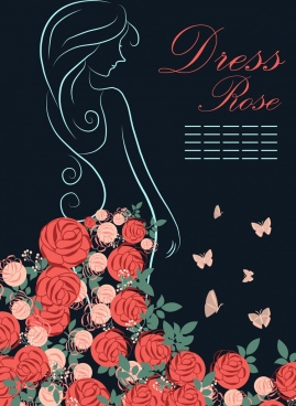 rose dress outline woman silhouette decoration