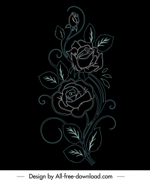rose flora painting dark handdrawn sketch
