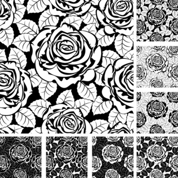 rose pattern templates black white flat handdrawn sketch