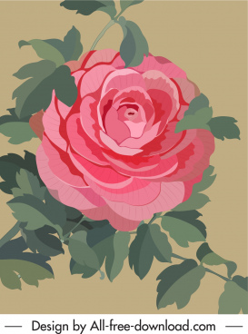 rose flower painting colored retro design