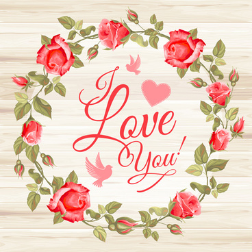 rose frame with wedding cards vector