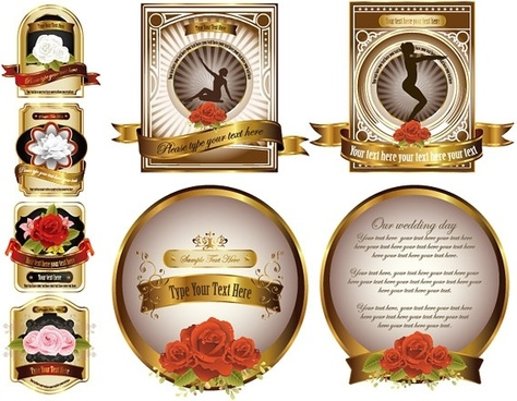 rose gold european label vector