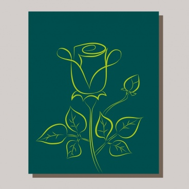 rose icon design green curves sketch