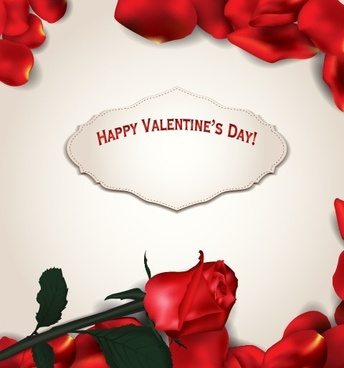 rose leaf valentine day card vector