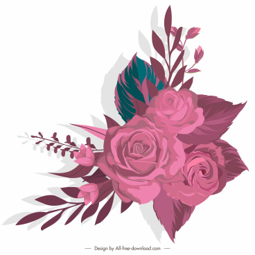 rose painting pink decor classical sketch