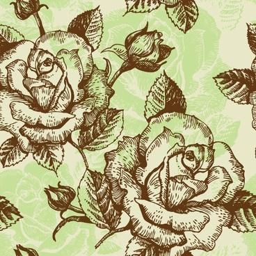 rose pattern background 02 vector