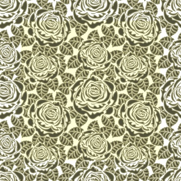 roses monochrome pattern messy decor flat design