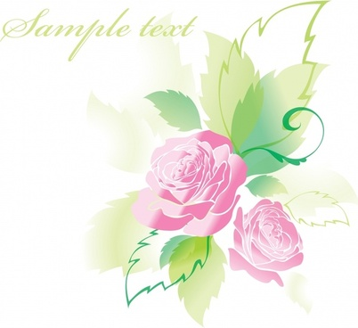 decorative rose background template bright colored modern design