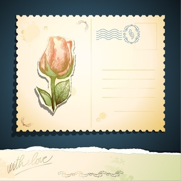 rose sticker stationery vector